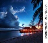 paradise beach at night ... | Shutterstock . vector #288700214