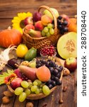Fresh Autumn Fruits In The...