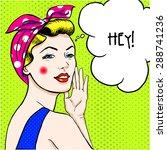 woman in comic art style.  | Shutterstock .eps vector #288741236