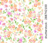 Stock vector sunny pastel floral print seamless background 288742100