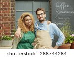 small business owners standing... | Shutterstock . vector #288744284