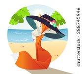 orange fox in a blue hat in the ... | Shutterstock .eps vector #288745946