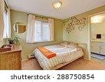 bright bedroom with green walls ... | Shutterstock . vector #288750854
