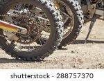 Motocross tyre on track - stock photo