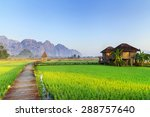 green rice fields and mountains ... | Shutterstock . vector #288757640