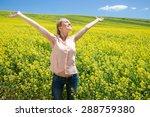 young caucasian woman in flower ...   Shutterstock . vector #288759380