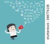 businesswoman use loudspeaker... | Shutterstock .eps vector #288776138