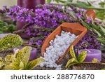 salt bath in wooden spoon with...   Shutterstock . vector #288776870