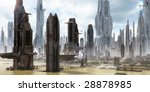 science fiction city with giant ...   Shutterstock . vector #28878985