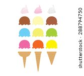 set of colorful ice cream cones ... | Shutterstock .eps vector #288794750