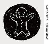 gingerbread man doodle | Shutterstock .eps vector #288798398