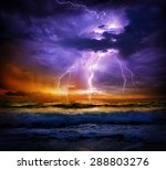 Lightning And Storm On Sea To...