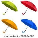 set of open umbrellas in...