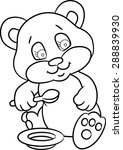 baby bear eats porridge  with a ... | Shutterstock .eps vector #288839930