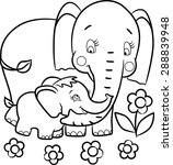 mother elephant and little... | Shutterstock .eps vector #288839948