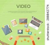 video editor workplace hands... | Shutterstock .eps vector #288842774