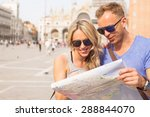 tourists couple looking at city ... | Shutterstock . vector #288844070