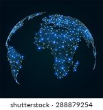world map with shining points ... | Shutterstock .eps vector #288879254