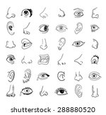 eye nose ear and mouth...   Shutterstock .eps vector #288880520