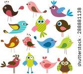 Set Of Cute Birds