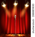 stage with red curtians ... | Shutterstock .eps vector #288885830