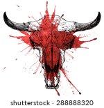 Bull   Auroch Bloody Skull Wit...