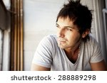 young pensive casual man  | Shutterstock . vector #288889298