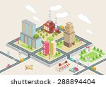 colorful isometric city  city... | Shutterstock .eps vector #288894404