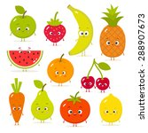 cartoon fruits and vegetables... | Shutterstock .eps vector #288907673