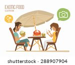 couple man and woman sitting in ... | Shutterstock .eps vector #288907904