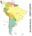 south america   map  ... | Shutterstock .eps vector #288910094