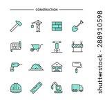 set of flat design  thin line... | Shutterstock .eps vector #288910598
