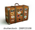 old travel suitcase isolated on ... | Shutterstock . vector #288923108