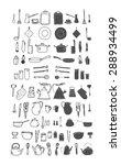 kitchenware. doodle set in...   Shutterstock .eps vector #288934499