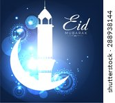 a greeting card template  'eid... | Shutterstock .eps vector #288938144