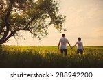 happy couple standing in the... | Shutterstock . vector #288942200