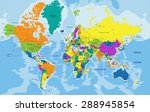 colorful world political map... | Shutterstock .eps vector #288945854