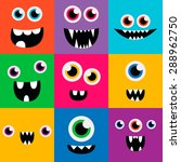 Stock vector cartoon monster faces vector set cute square avatars and icons 288962750