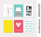 set of cute creative cards with ... | Shutterstock .eps vector #288966050
