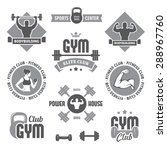 set of monochrome gym and... | Shutterstock .eps vector #288967760