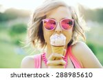 young blonde hipster girl... | Shutterstock . vector #288985610