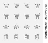 shopping cart and bag icon set | Shutterstock .eps vector #288991940