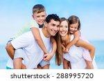 adults  back  beach. | Shutterstock . vector #288995720