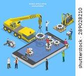mobile app development flat... | Shutterstock . vector #289028210
