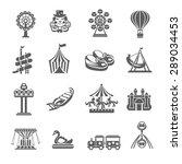 Amusement Park Grey Icons Set...