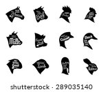 Stock vector farm animals icons collection butchery labels templates isolated on white 289035140