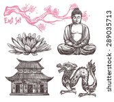 asian sketch set with lotus... | Shutterstock .eps vector #289035713