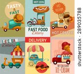 fast food delivery trucks mini... | Shutterstock .eps vector #289035788