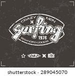 surfing emblem in retro style.... | Shutterstock .eps vector #289045070
