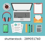 top view of workplace  flat...   Shutterstock .eps vector #289051760